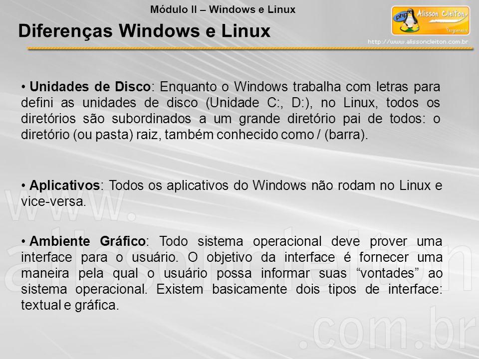 Unidades de Disco: Enquanto o Windows trabalha com letras para defini as unidades de disco (Unidade C:, D:), no Linux, todos os diretórios são subordi
