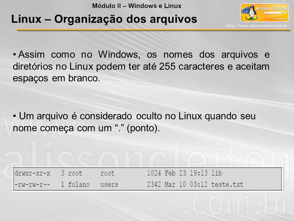 Assim como no Windows, os nomes dos arquivos e diretórios no Linux podem ter até 255 caracteres e aceitam espaços em branco. Um arquivo é considerado