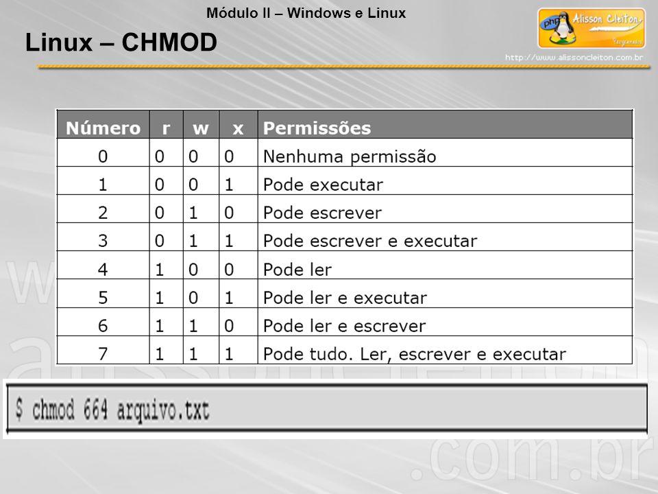 Linux – CHMOD Módulo II – Windows e Linux