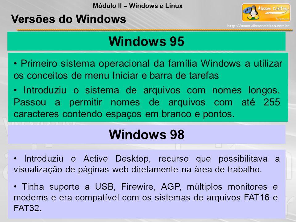 Windows 95 Introduziu o sistema de arquivos com nomes longos. Passou a permitir nomes de arquivos com até 255 caracteres contendo espaços em branco e