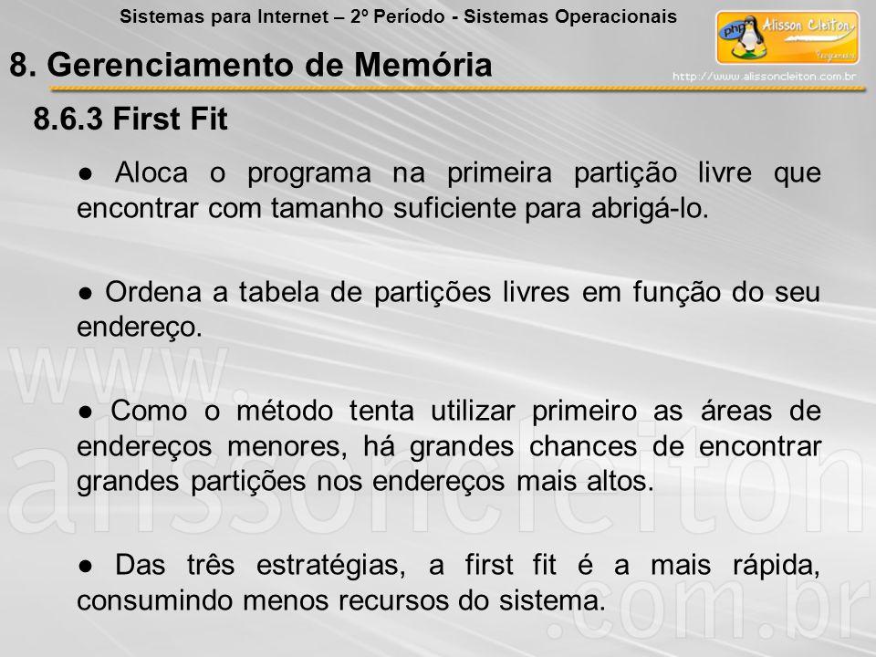 8.6.3 8.6.3 First Fit Aloca o programa na primeira partição livre que encontrar com tamanho suficiente para abrigá-lo. Ordena a tabela de partições li