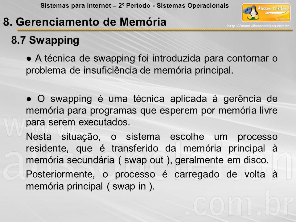 8.7 8.7 Swapping A técnica de swapping foi introduzida para contornar o problema de insuficiência de memória principal. O swapping é uma técnica aplic