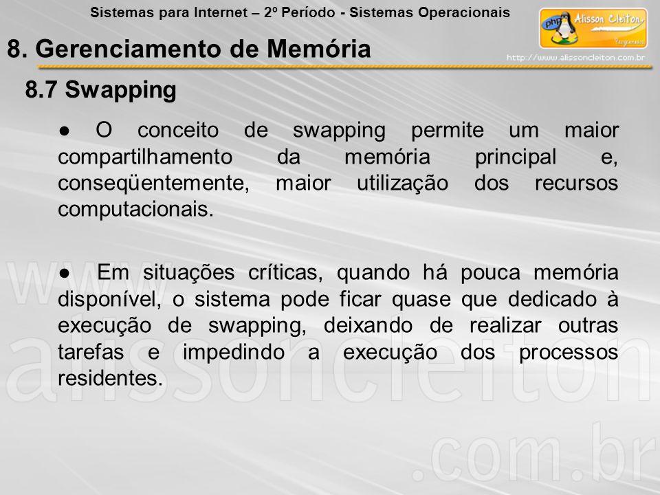 8.7 8.7 Swapping O conceito de swapping permite um maior compartilhamento da memória principal e, conseqüentemente, maior utilização dos recursos comp