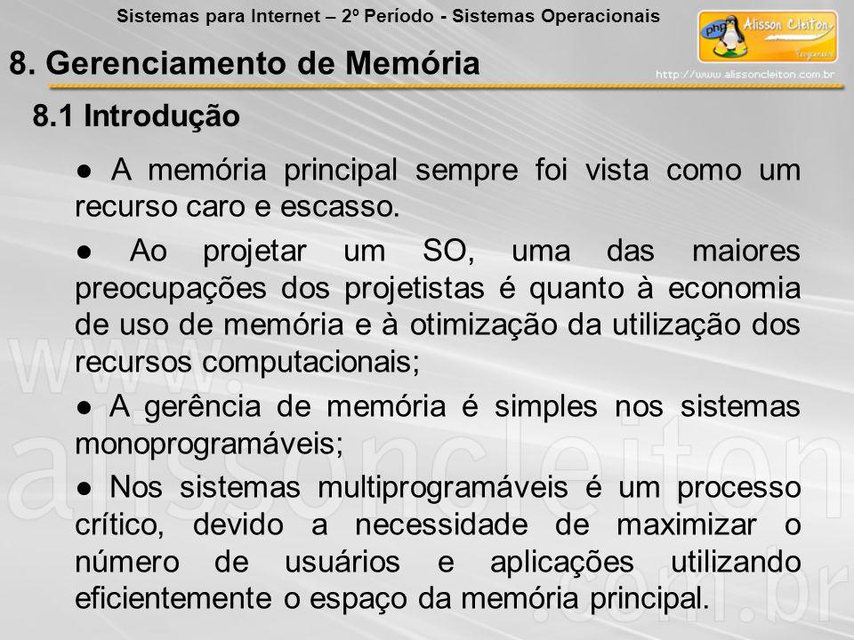 8. Gerenciamento de Memória 8.1 Introdução A memória principal sempre foi vista como um recurso caro e escasso. Ao projetar um SO, uma das maiores pre