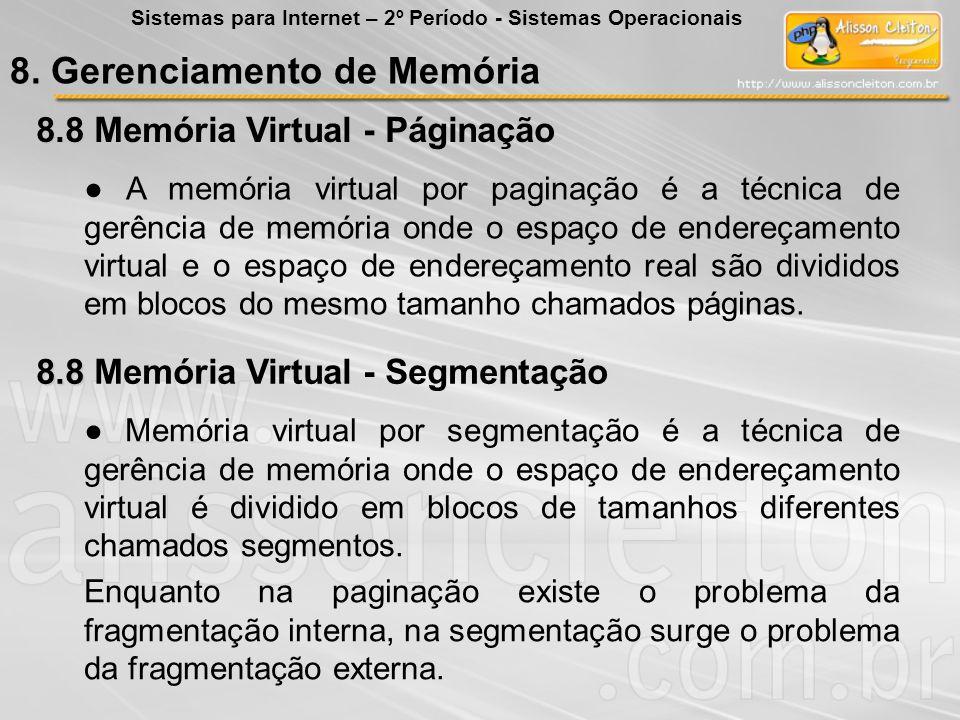 8.8 8.8 Memória Virtual - Páginação A memória virtual por paginação é a técnica de gerência de memória onde o espaço de endereçamento virtual e o espa