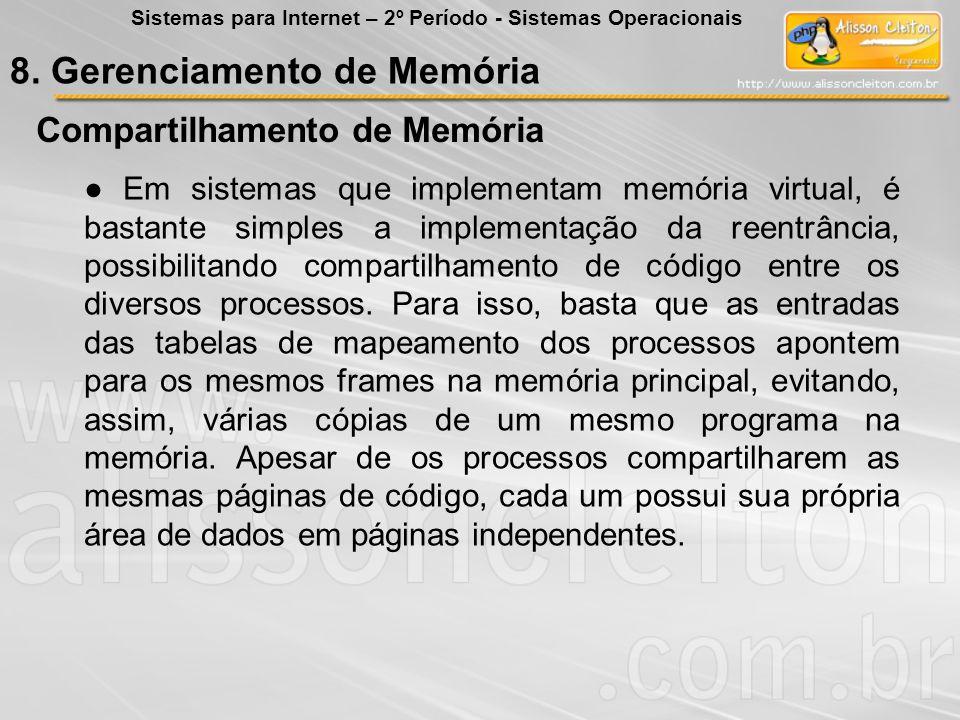Compartilhamento de Memória Em sistemas que implementam memória virtual, é bastante simples a implementação da reentrância, possibilitando compartilha