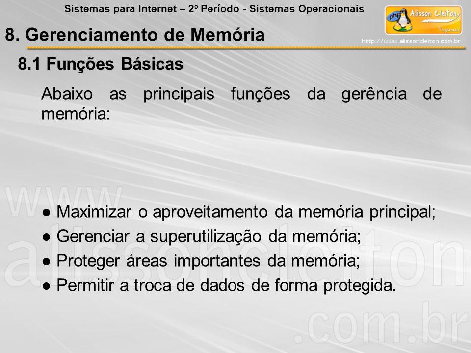 8.1 Funções Básicas Abaixo as principais funções da gerência de memória: Maximizar o aproveitamento da memória principal; Gerenciar a superutilização
