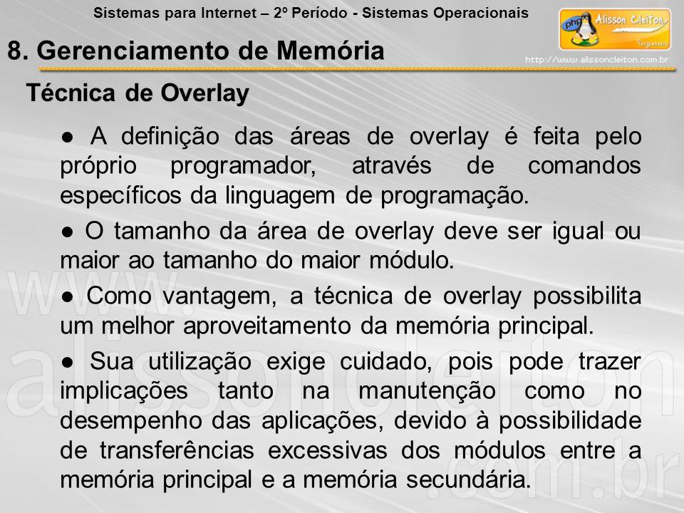 Técnica de Overlay Exemplo de Overlay: Um programa que consista em um módulo principal e outros dois módulos independentes, um correspondente ao cadastro e outro, à impressão.