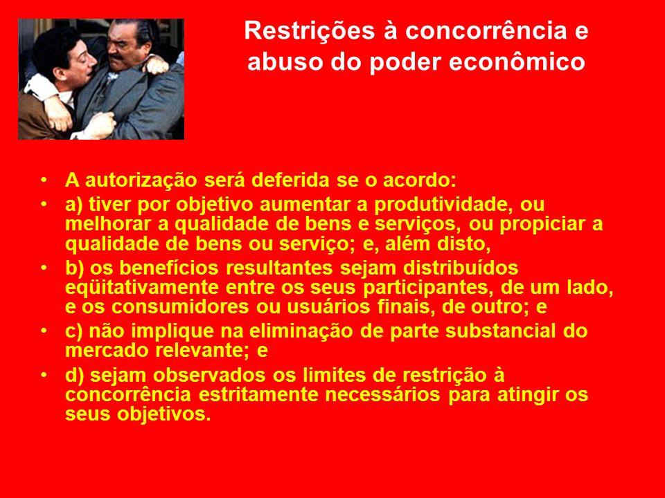 Restrições à concorrência e abuso do poder econômico A autorização será deferida se o acordo: a) tiver por objetivo aumentar a produtividade, ou melho