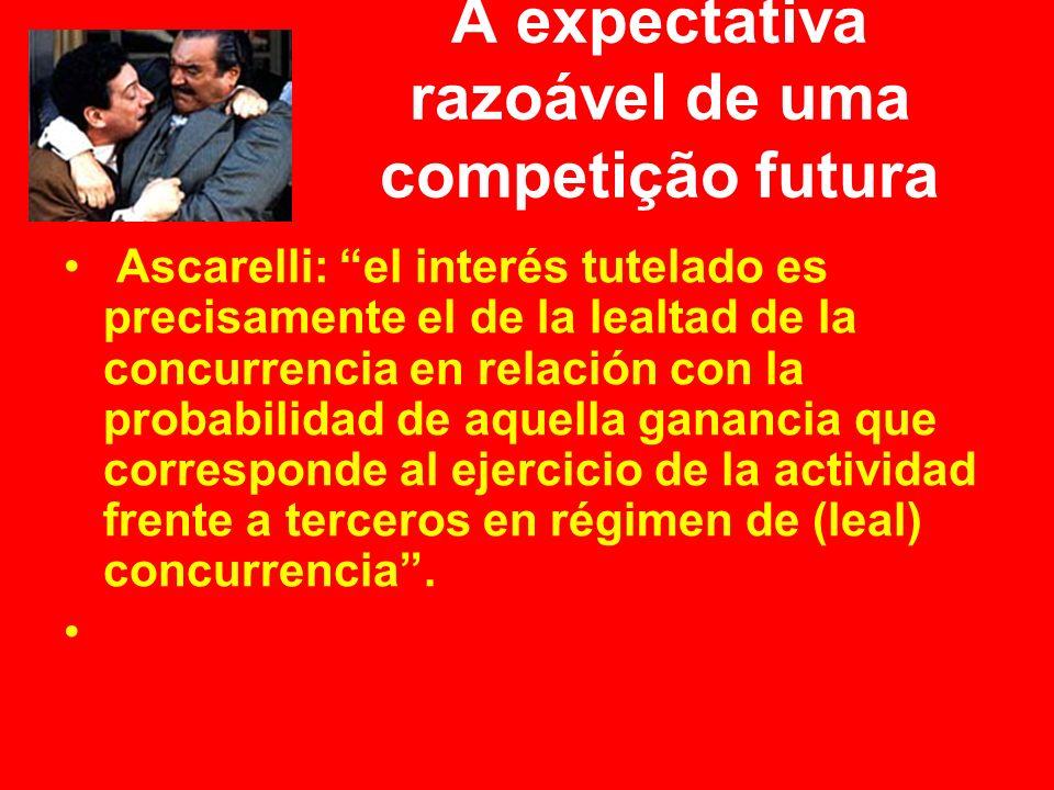 A expectativa razoável de uma competição futura Ascarelli: el interés tutelado es precisamente el de la lealtad de la concurrencia en relación con la