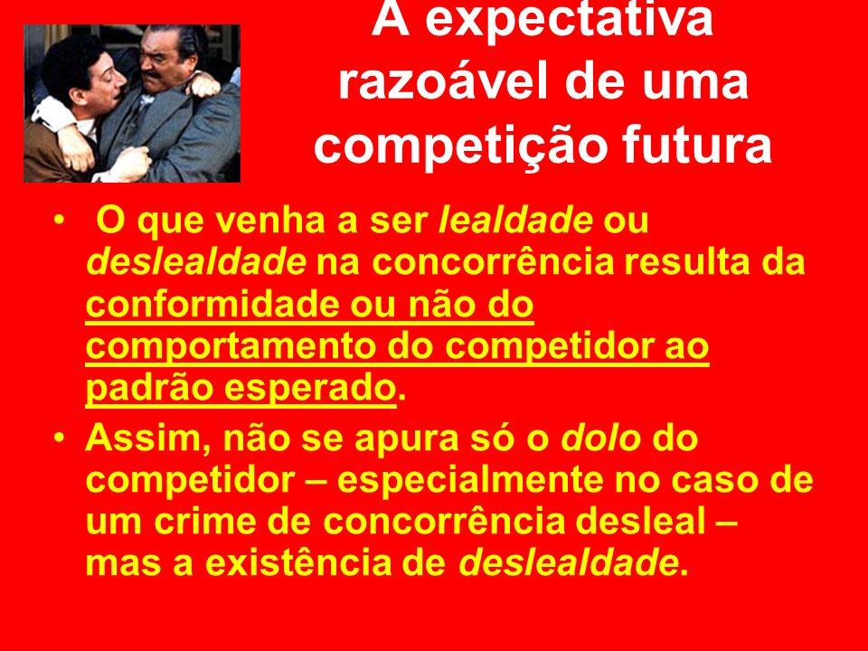 A expectativa razoável de uma competição futura O que venha a ser lealdade ou deslealdade na concorrência resulta da conformidade ou não do comportame