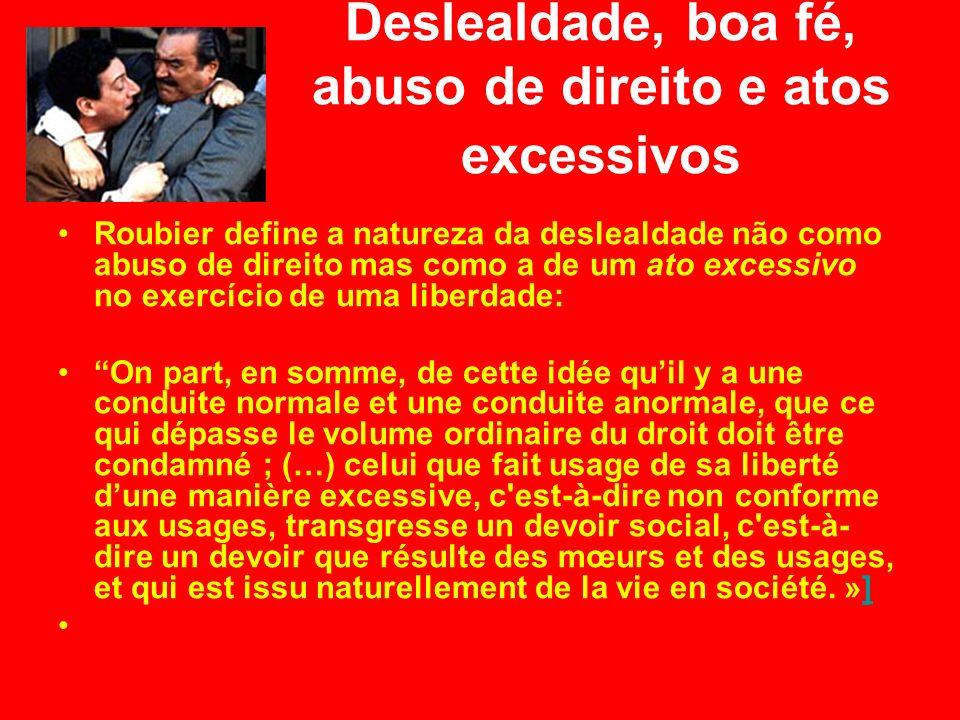 Deslealdade, boa fé, abuso de direito e atos excessivos Roubier define a natureza da deslealdade não como abuso de direito mas como a de um ato excess