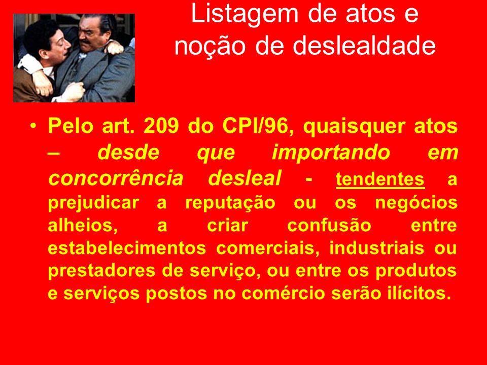 Listagem de atos e noção de deslealdade Pelo art. 209 do CPI/96, quaisquer atos – desde que importando em concorrência desleal - tendentes a prejudica
