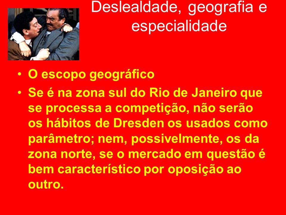 Deslealdade, geografia e especialidade O escopo geográfico Se é na zona sul do Rio de Janeiro que se processa a competição, não serão os hábitos de Dr