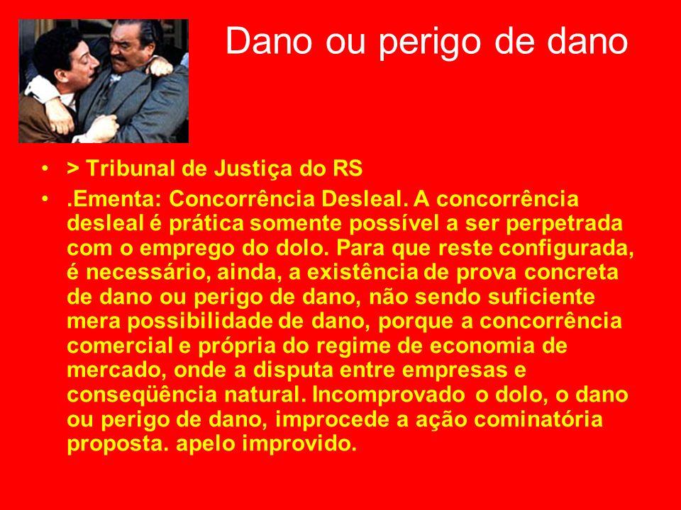 Dano ou perigo de dano > Tribunal de Justiça do RS.Ementa: Concorrência Desleal. A concorrência desleal é prática somente possível a ser perpetrada co