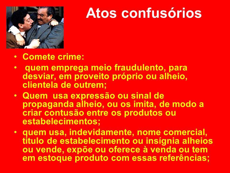 Atos confusórios Comete crime: quem emprega meio fraudulento, para desviar, em proveito próprio ou alheio, clientela de outrem; Quem usa expressão ou