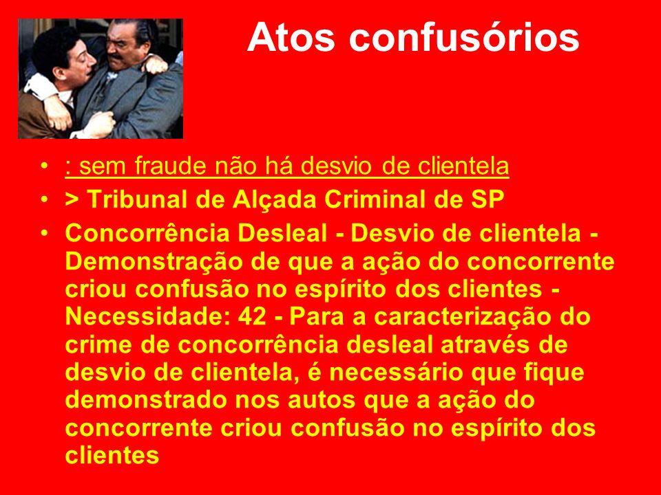 Atos confusórios : sem fraude não há desvio de clientela > Tribunal de Alçada Criminal de SP Concorrência Desleal - Desvio de clientela - Demonstração