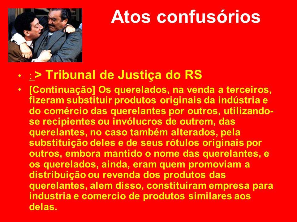 Atos confusórios : > Tribunal de Justiça do RS [Continuação] Os querelados, na venda a terceiros, fizeram substituir produtos originais da indústria e