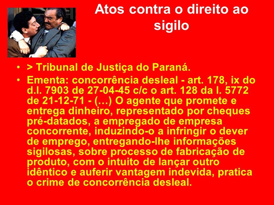 Atos contra o direito ao sigilo > Tribunal de Justiça do Paraná. Ementa: concorrência desleal - art. 178, ix do d.l. 7903 de 27-04-45 c/c o art. 128 d