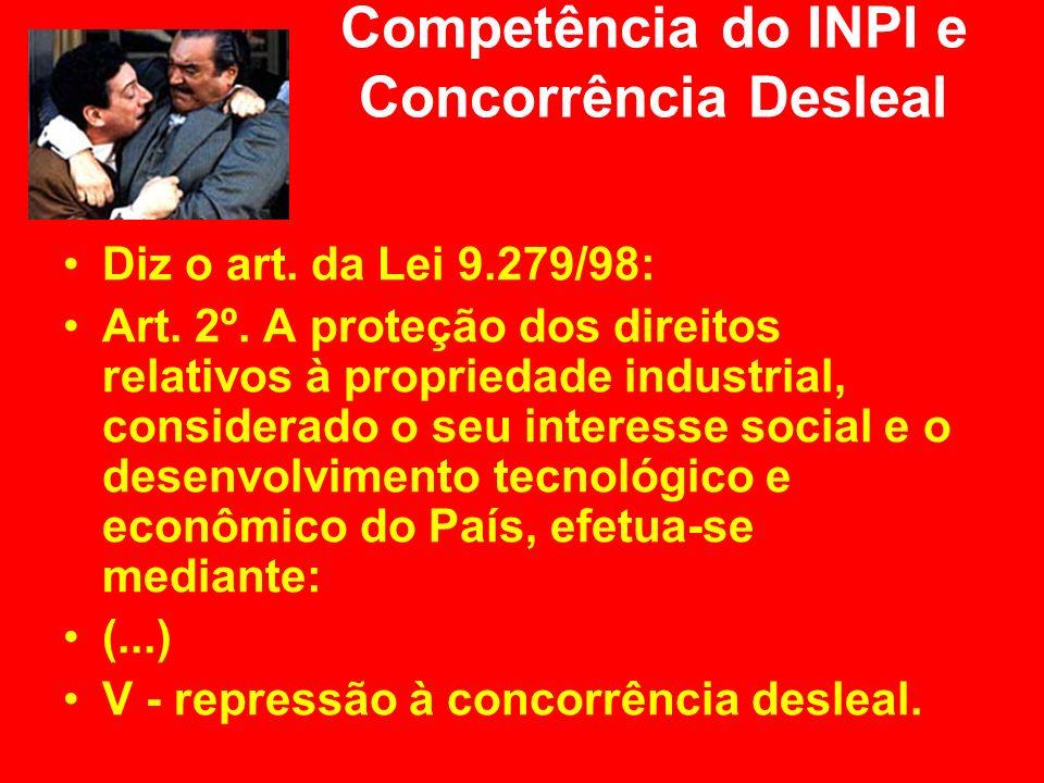 Competência do INPI e Concorrência Desleal Diz o art. da Lei 9.279/98: Art. 2º. A proteção dos direitos relativos à propriedade industrial, considerad