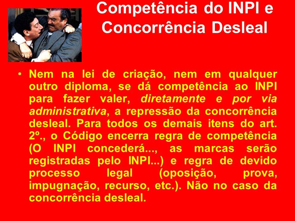 Competência do INPI e Concorrência Desleal Nem na lei de criação, nem em qualquer outro diploma, se dá competência ao INPI para fazer valer, diretamen