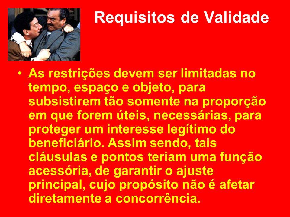 Requisitos de Validade As restrições devem ser limitadas no tempo, espaço e objeto, para subsistirem tão somente na proporção em que forem úteis, nece