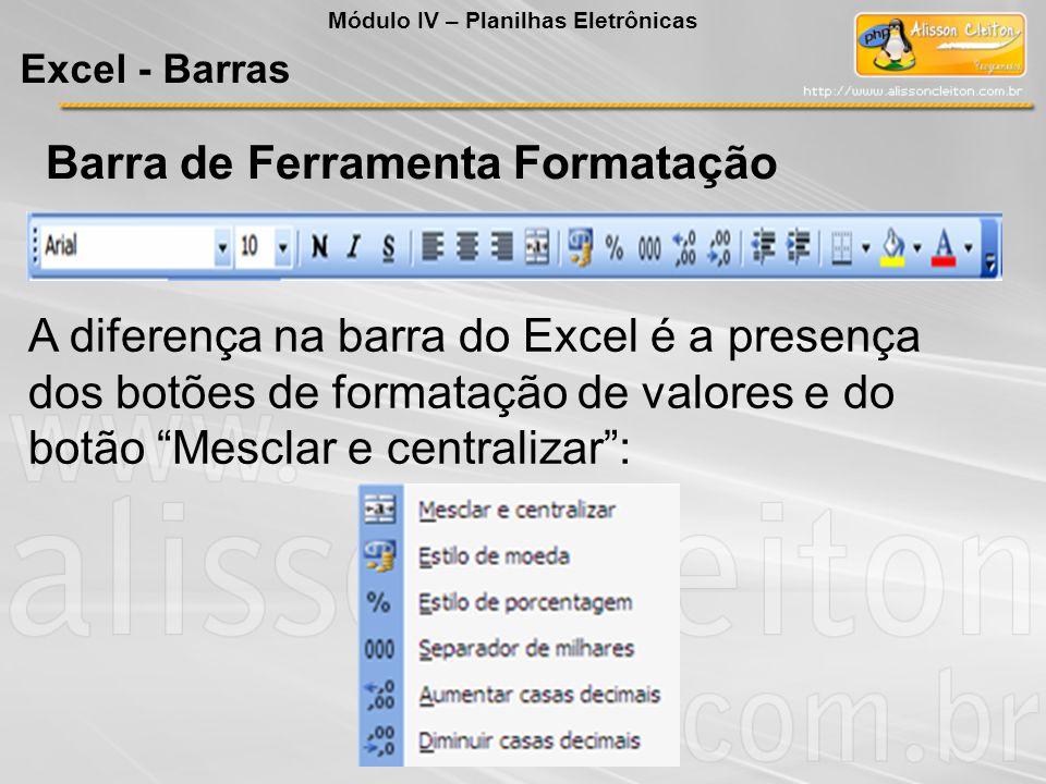 Barra de Ferramenta Formatação A diferença na barra do Excel é a presença dos botões de formatação de valores e do botão Mesclar e centralizar: Módulo