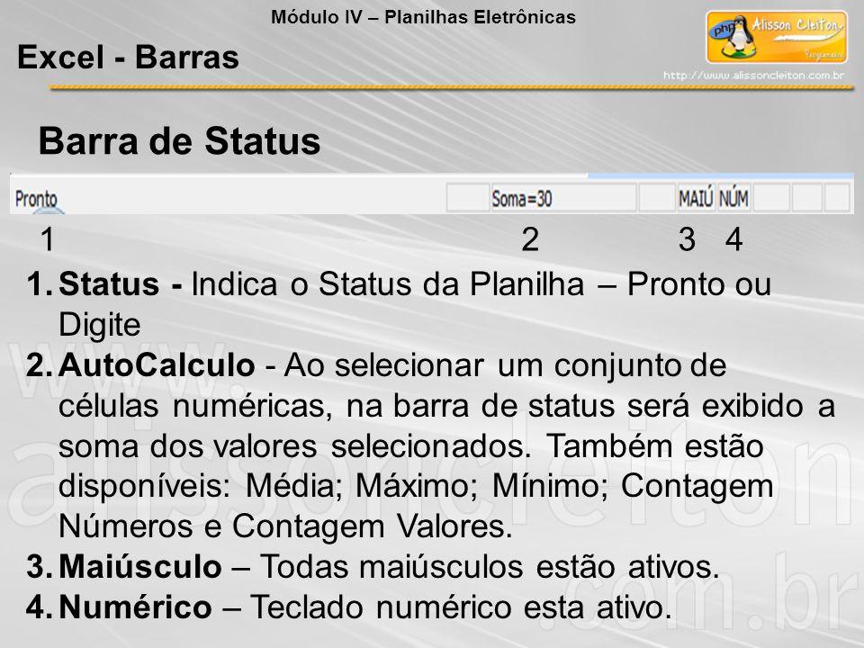 Módulo IV – Planilhas Eletrônicas Excel - Barras Barra de Status 1234 1.Status - Indica o Status da Planilha – Pronto ou Digite 2.AutoCalculo - Ao sel