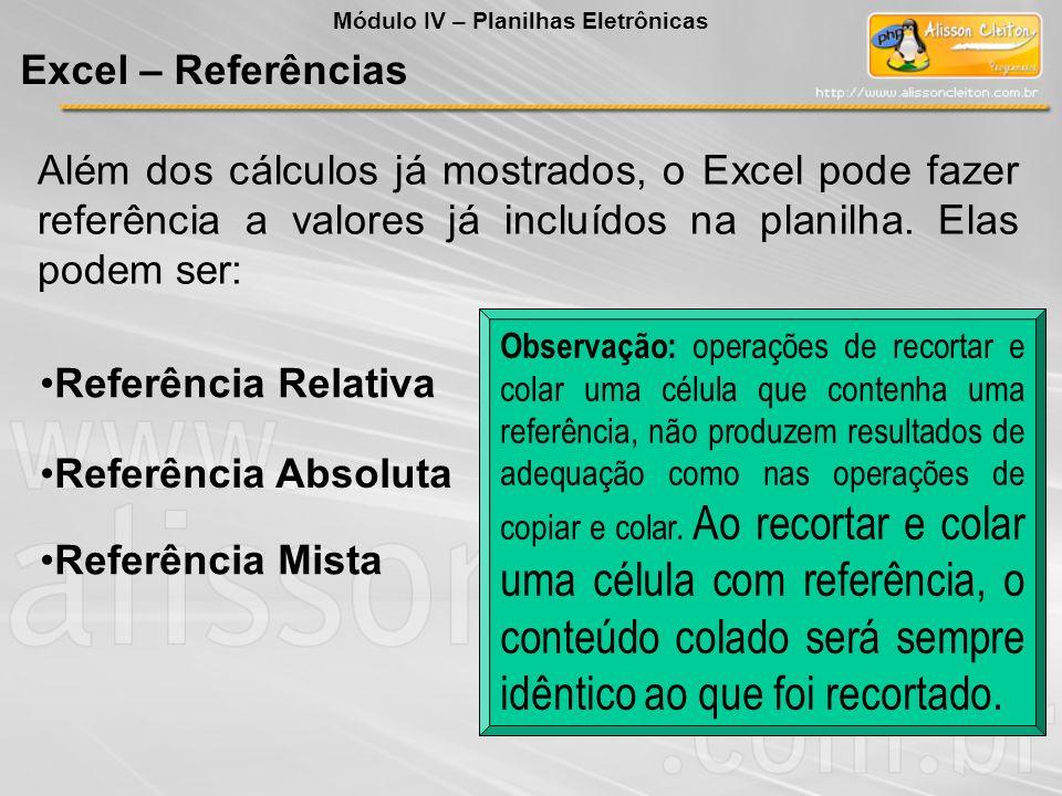 Além dos cálculos já mostrados, o Excel pode fazer referência a valores já incluídos na planilha. Elas podem ser: Referência Relativa Referência Absol