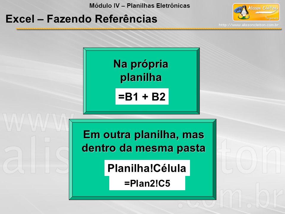 Na própria planilha =B1 + B2 Em outra planilha, mas dentro da mesma pasta Planilha!Célula =Plan2!C5 Módulo IV – Planilhas Eletrônicas Excel – Fazendo
