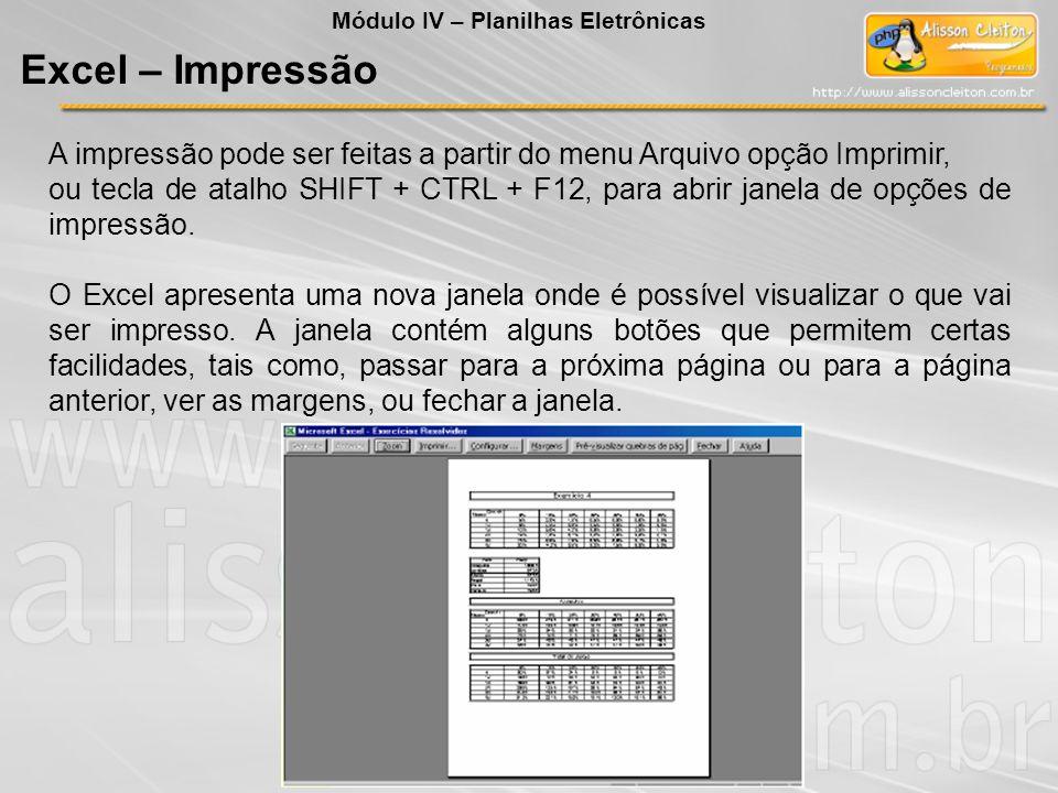 Módulo IV – Planilhas Eletrônicas Excel – Impressão A impressão pode ser feitas a partir do menu Arquivo opção Imprimir, ou tecla de atalho SHIFT + CT