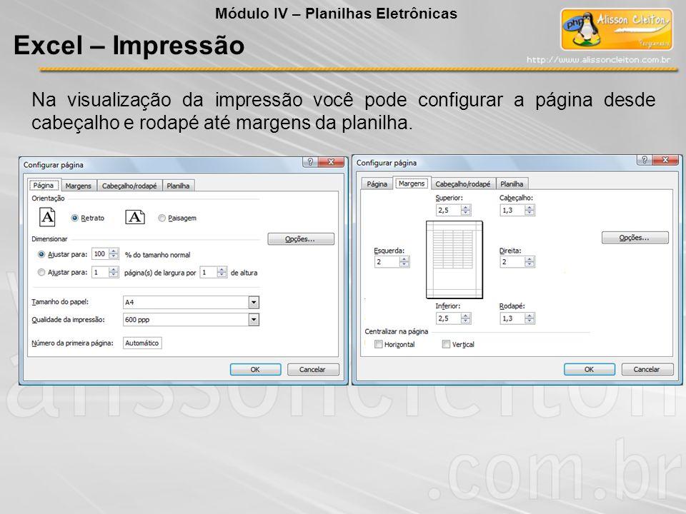 Módulo IV – Planilhas Eletrônicas Excel – Impressão Na visualização da impressão você pode configurar a página desde cabeçalho e rodapé até margens da