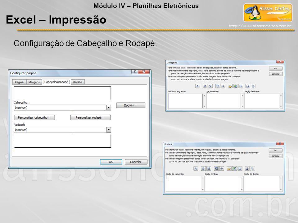 Módulo IV – Planilhas Eletrônicas Excel – Impressão Configuração de Cabeçalho e Rodapé.