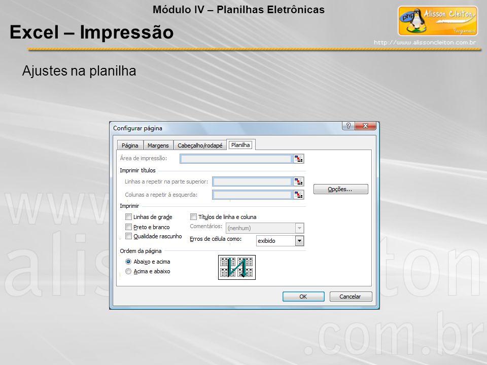 Módulo IV – Planilhas Eletrônicas Excel – Impressão Ajustes na planilha