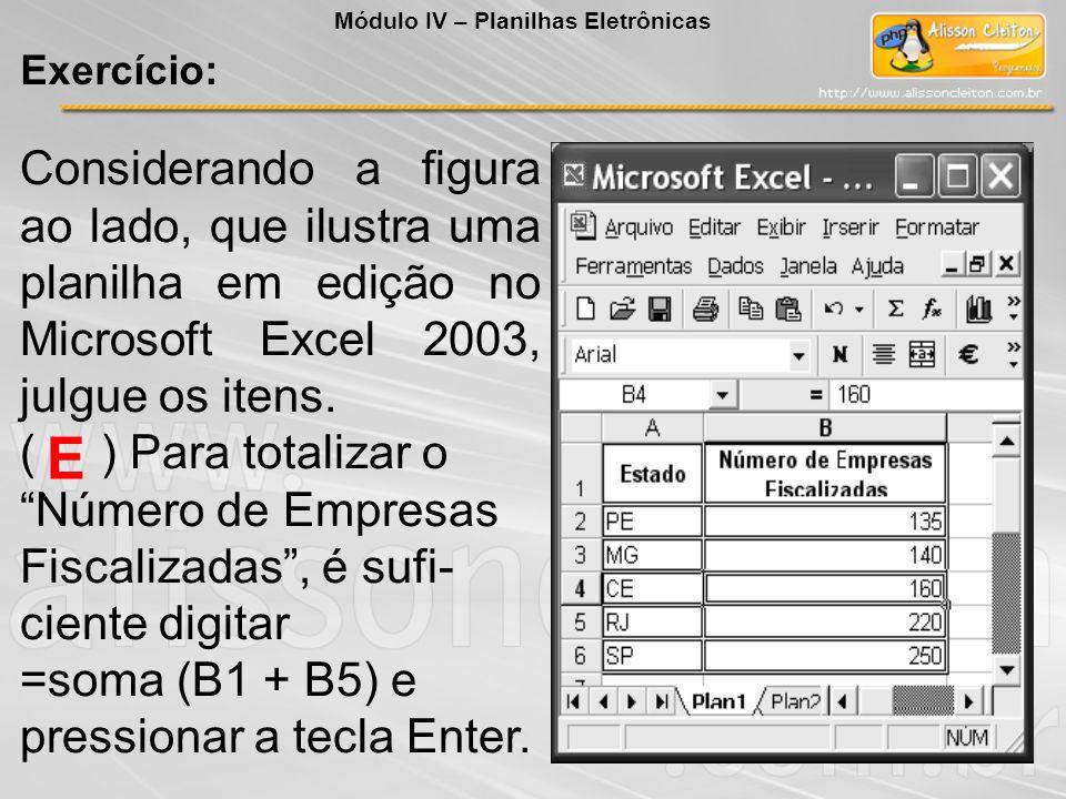 Considerando a figura ao lado, que ilustra uma planilha em edição no Microsoft Excel 2003, julgue os itens. ( ) Para totalizar o Número de Empresas Fi