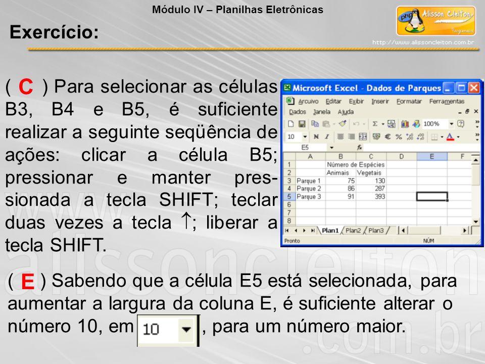 ( ) Para selecionar as células B3, B4 e B5, é suficiente realizar a seguinte seqüência de ações: clicar a célula B5; pressionar e manter pres- sionada