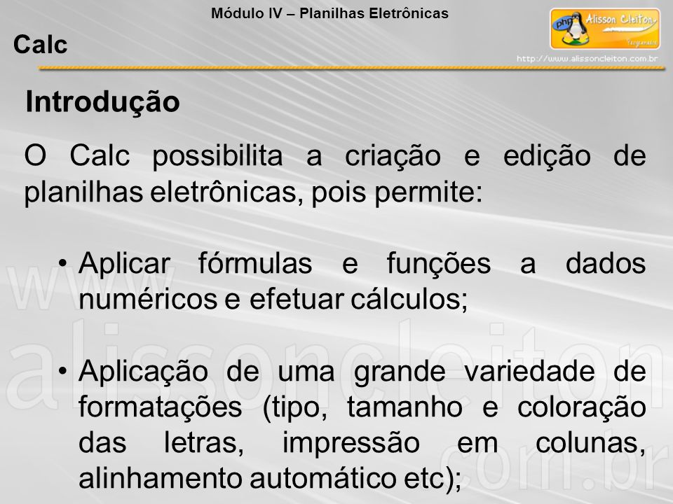 Introdução O Calc possibilita a criação e edição de planilhas eletrônicas, pois permite: Aplicar fórmulas e funções a dados numéricos e efetuar cálcul