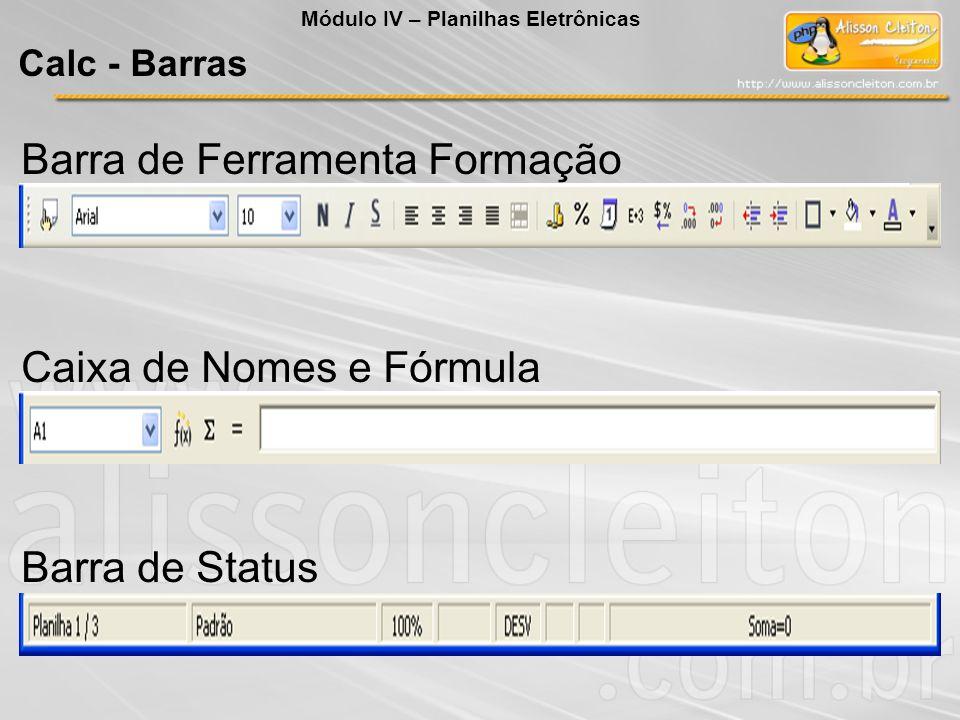 Caixa de Nomes e Fórmula Barra de Status Barra de Ferramenta Formação Módulo IV – Planilhas Eletrônicas Calc - Barras