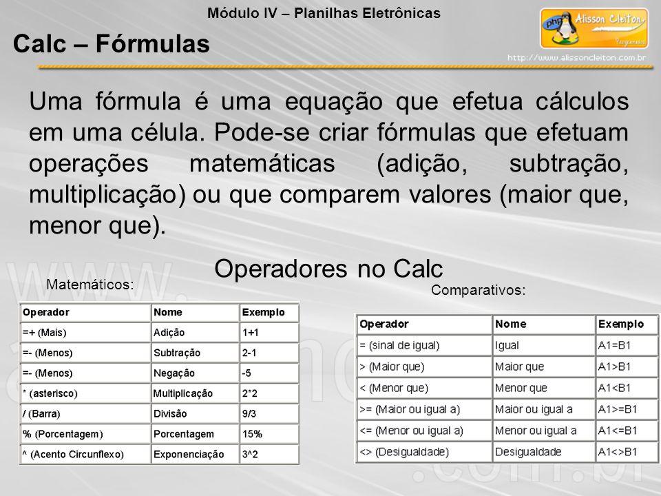 Uma fórmula é uma equação que efetua cálculos em uma célula. Pode-se criar fórmulas que efetuam operações matemáticas (adição, subtração, multiplicaçã