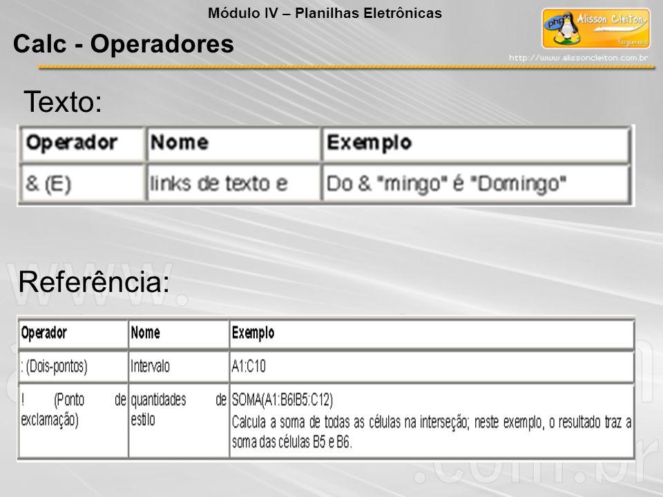 Texto: Referência: Módulo IV – Planilhas Eletrônicas Calc - Operadores