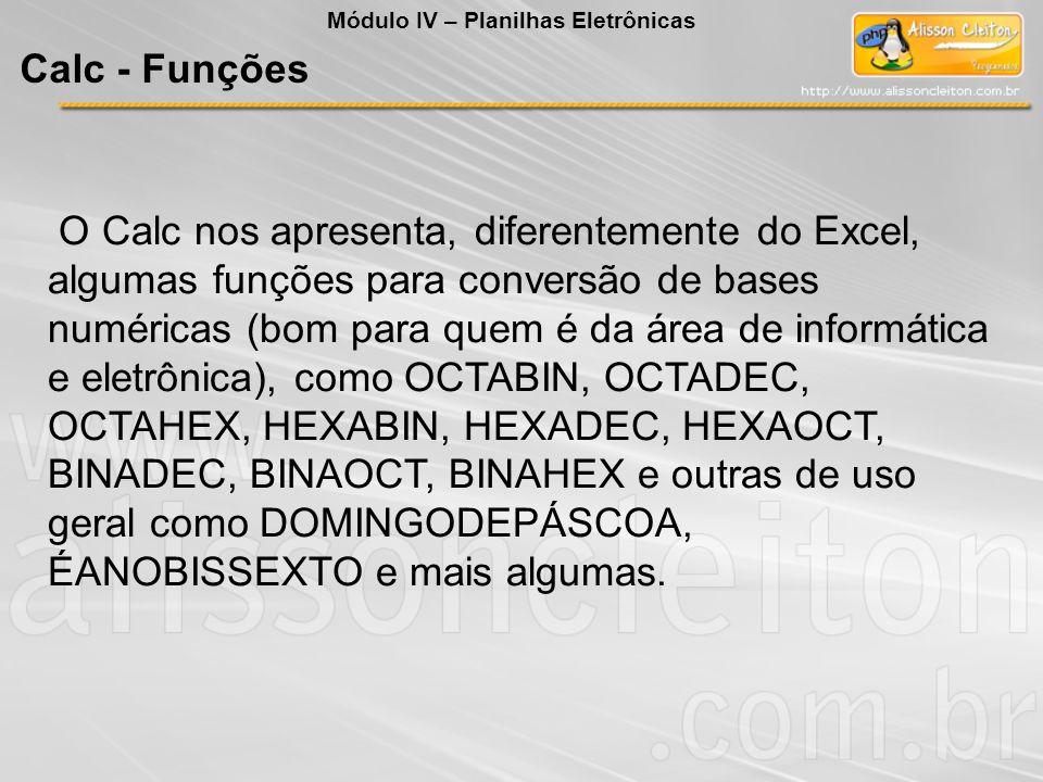 O Calc nos apresenta, diferentemente do Excel, algumas funções para conversão de bases numéricas (bom para quem é da área de informática e eletrônica)