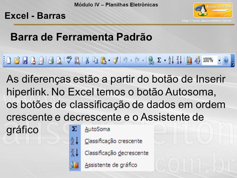 Outra diferença é que na barra do Excel, o botão Colar possui uma seta com outras opções de colagem, como mostra a figura à esquerda.