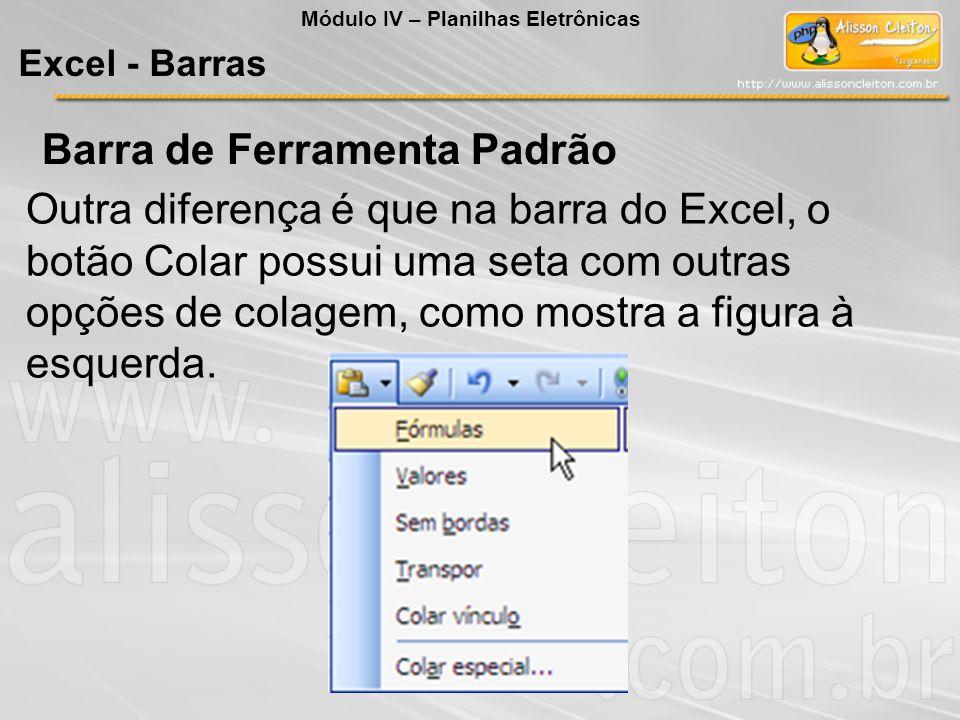 Outra diferença é que na barra do Excel, o botão Colar possui uma seta com outras opções de colagem, como mostra a figura à esquerda. Módulo IV – Plan