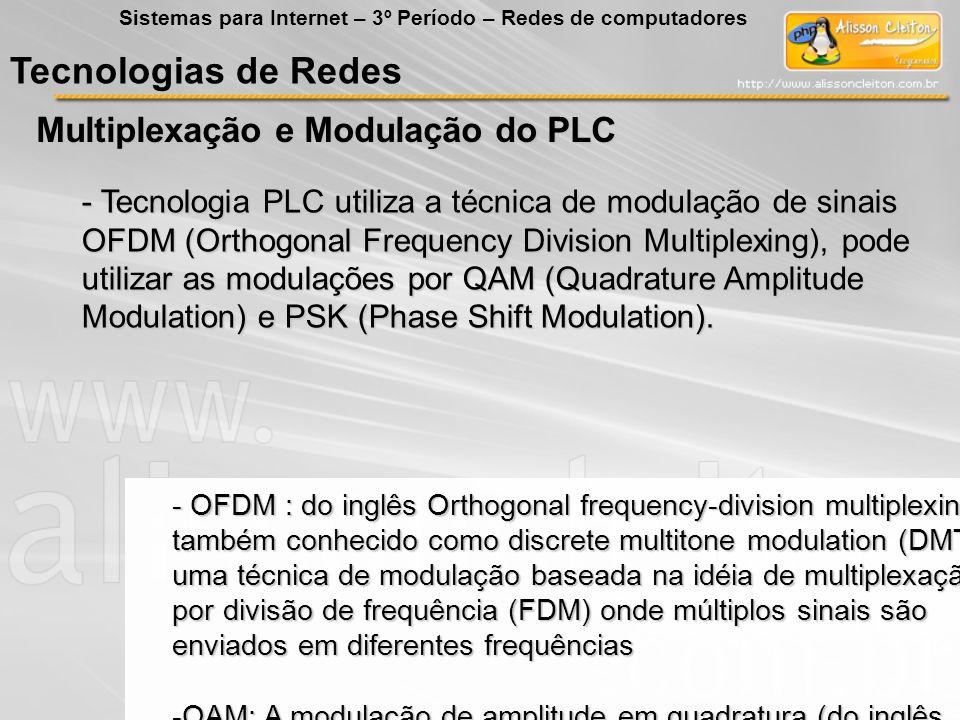 Tecnologias de Redes Multiplexação e Modulação do PLC Sistemas para Internet – 3º Período – Redes de computadores - Tecnologia PLC utiliza a técnica d