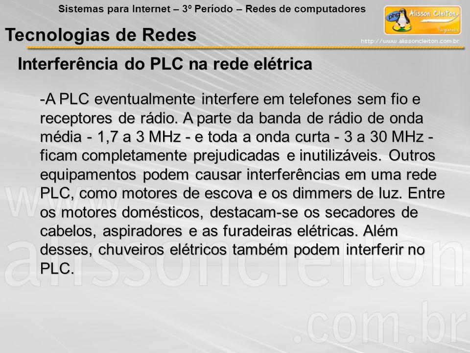 Tecnologias de Redes Interferência do PLC na rede elétrica Sistemas para Internet – 3º Período – Redes de computadores -A PLC eventualmente interfere