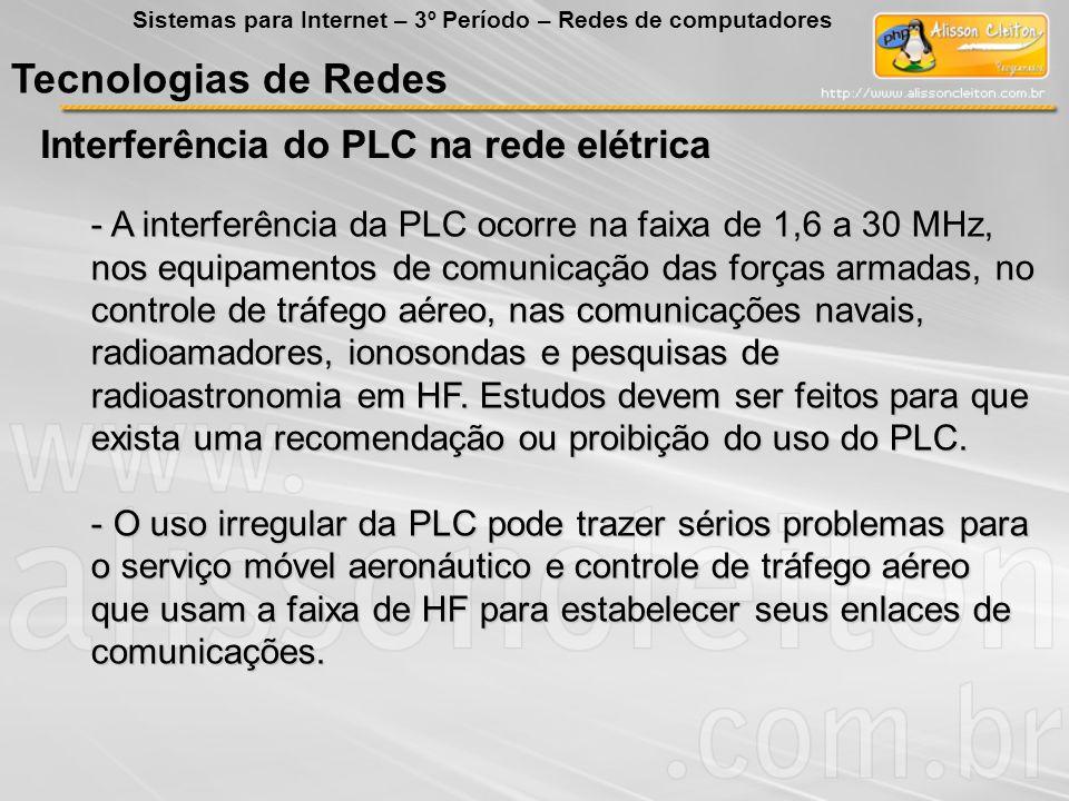 Tecnologias de Redes Interferência do PLC na rede elétrica Sistemas para Internet – 3º Período – Redes de computadores - A interferência da PLC ocorre