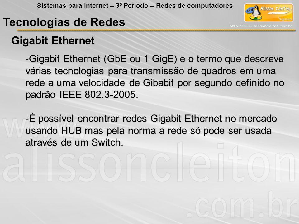 Tecnologias de Redes Gigabit Ethernet Sistemas para Internet – 3º Período – Redes de computadores -Gigabit Ethernet (GbE ou 1 GigE) é o termo que desc