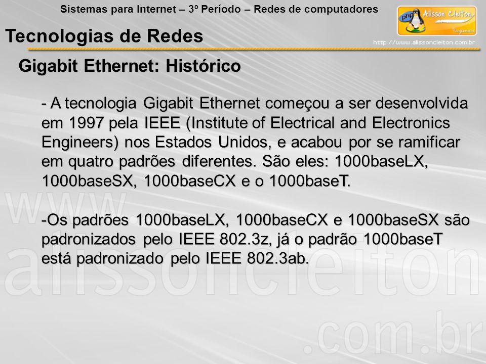 Tecnologias de Redes Gigabit Ethernet: Histórico Sistemas para Internet – 3º Período – Redes de computadores - A tecnologia Gigabit Ethernet começou a