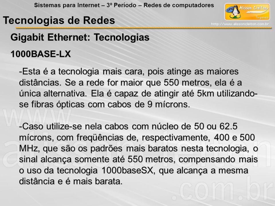 Tecnologias de Redes Gigabit Ethernet: Tecnologias Sistemas para Internet – 3º Período – Redes de computadores 1000BASE-LX -Esta é a tecnologia mais c