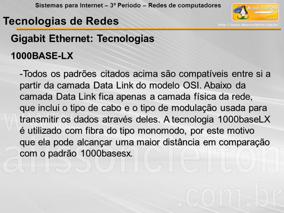 Tecnologias de Redes Gigabit Ethernet: Tecnologias Sistemas para Internet – 3º Período – Redes de computadores 1000BASE-LX -Todos os padrões citados a